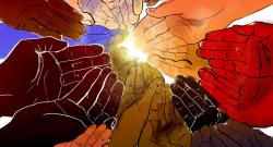 A circle of multi-racial hands extended and reaching for the light