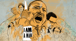 Black History Month collage with Rosa Parks, Martin Luther King, Jr., Malcolm X, and others