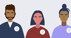 Illustration of Different People of Color With Voting Stickers