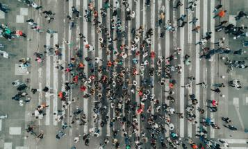 Crowded crosswalk viewed from above