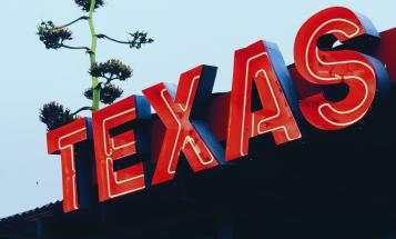 Neon sign spelling out 'Texas'