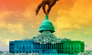 A Black hand reaching down from the sky to lift the dome of the US Capitol with money flowing out from under it