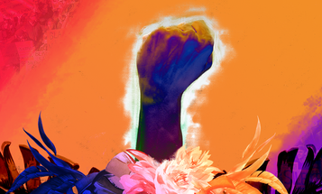 Black fist raised above a crown of palm leaves and flowers on a red, orange and purple striped backdrop