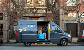 Amazon Prime Delivery Van  withDoor Open on City Street