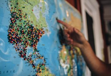 Map with pins North America