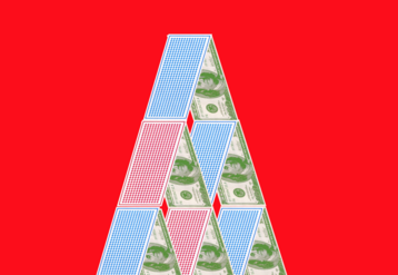 Stacked deck of cards on a red background