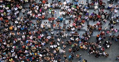 Crowd on public square photographed from above