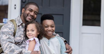 Black veteran with children