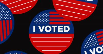 I voted stickers in black, red, and blue