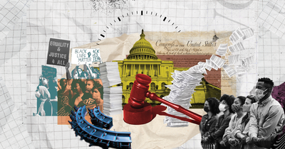 Collage on grid paper with the US Capitol, Constitution, gavel, and protestors to represent the filibuster
