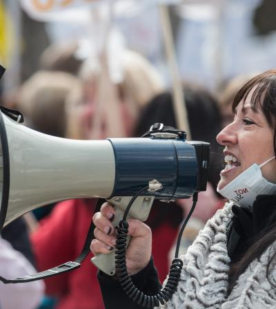 Person with megaphone
