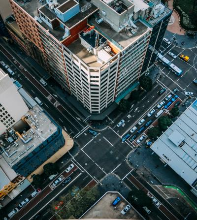 City intersection from overhead