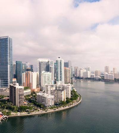 Miami skyline against the water