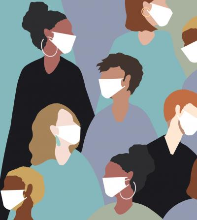 Diverse group of people wearing masks