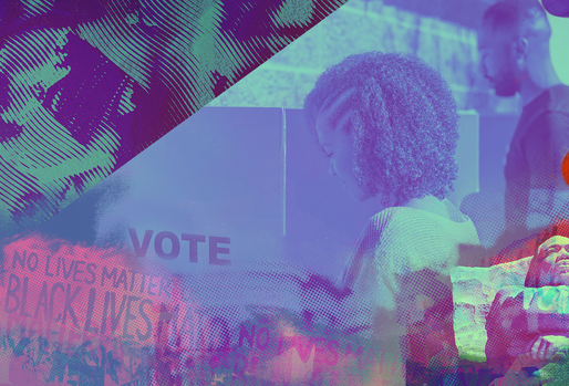 Two Black voters at a voting booth superimposed on a ballot being cast