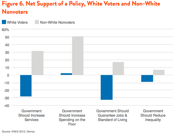 Figure 6. Net Support of a Policy, White Voters and Non-White Nonvoters