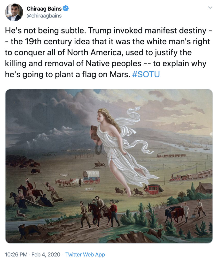 He's not being subtle. Trump invoked manifest destiny -- the 19th century idea that it was the white man's right to conquer all of North America, used to justify the killing and removal of Native peoples -- to explain why he's going to plant a flag on Mars. #SOTU