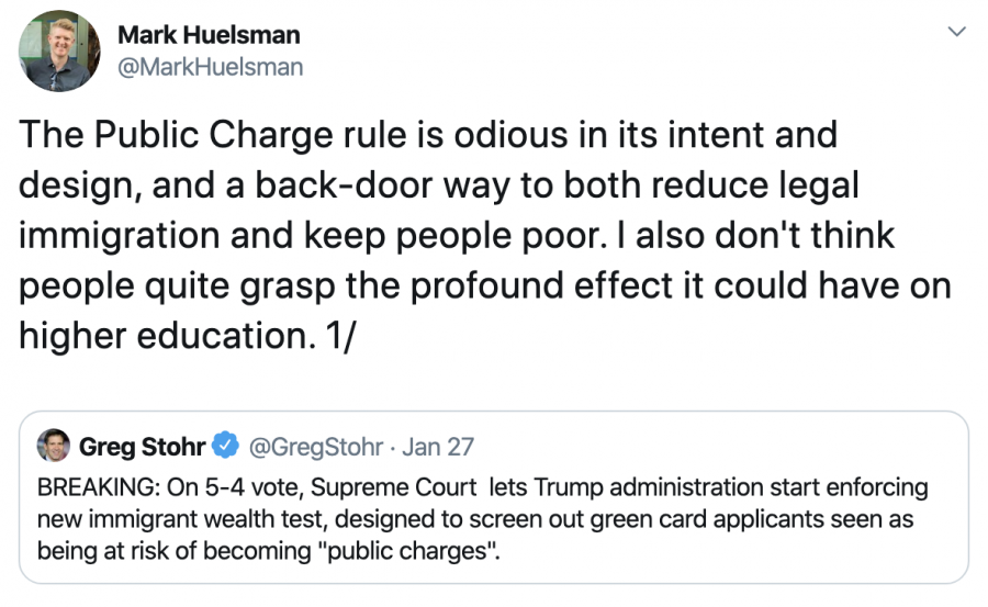 @MarkHuelsman — The Public Charge rule is odious in its intent and design, and a back-door way to both reduce legal immigration and keep people poor. I also don't think people quite grasp the profound effect it could have on higher education. 1/