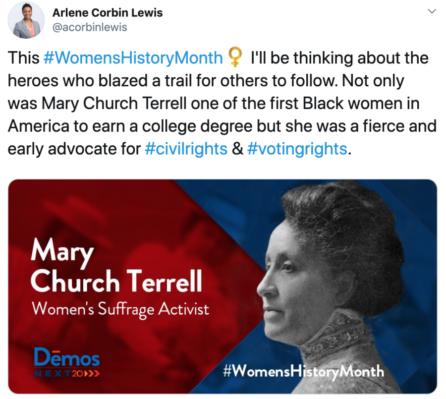 Arlene Corbin Lewis picks Mary Church Terrell for Womens History Month 2020