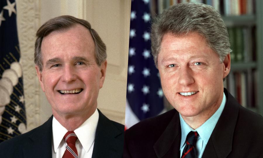 Presidents George H.W. Bush and Bill Clinton