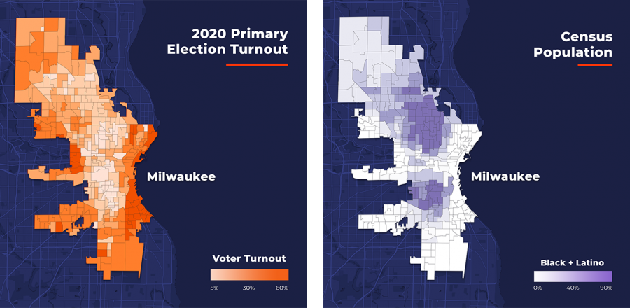2020 Primary Election Turnout & Census Population in Milwaukee